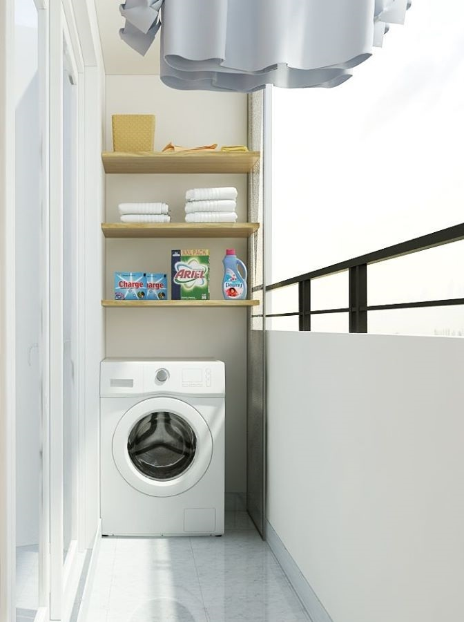Thiết kế phòng giặt phơi ở ban công thuận tiện vì đã có hệ thống thoát nước đã được bố trí