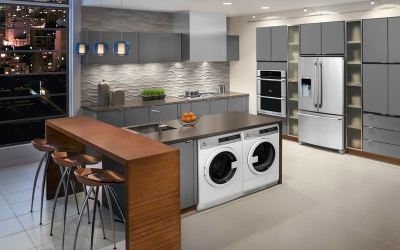 Phòng giặt đồ được bố trí trong không gian bếp tiện nghi