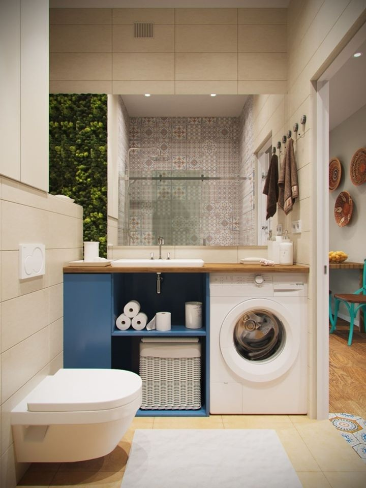 Không gian phòng giặt đồ thiết kế bên ngoài phòng tắm để tránh ẩm ướt