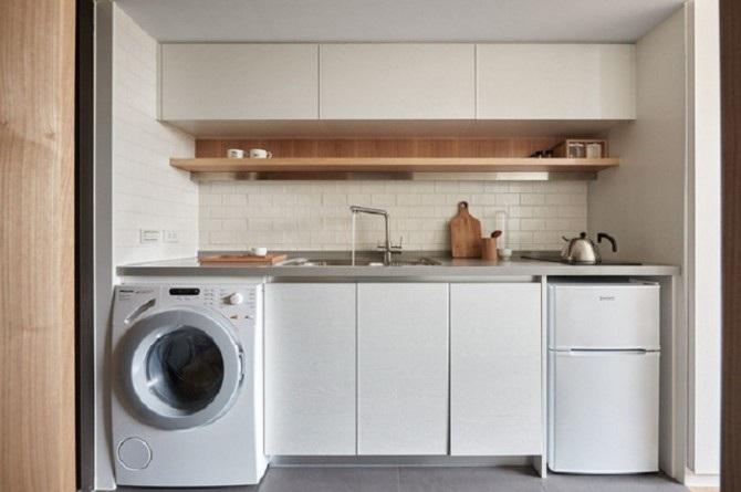 Phòng giặt nhỏ, tiện nghi tích hợp với không gian phòng bếp