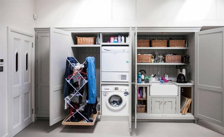 Thiết kế phòng giặt tiện nghi trong tủ độc đáo, mới lạ và cuốn hút