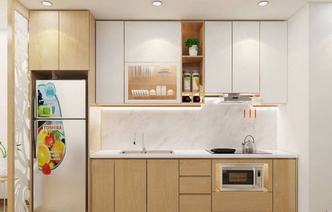 Mẫu tủ bếp chung cư kết hợp với gỗ đẹp lôi cuốn