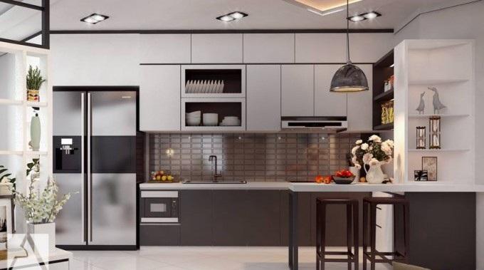 Mẫu tủ bếp chung cư nhỏ hiện đại mà sang trọng