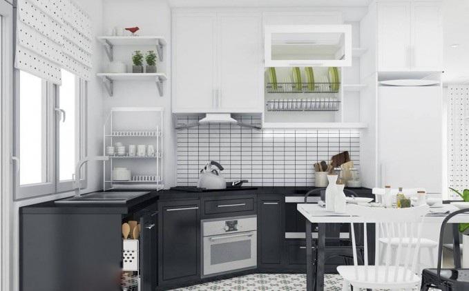 Mẫu tủ bếp chung cư nhỏ hiện đại, màu trắng chủ đạo kết hợp với màu đen bắt mắt