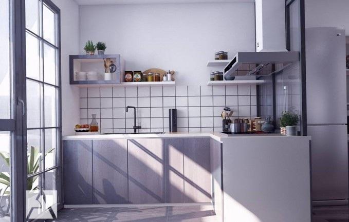 Mẫu tủ bếp chung cư nhỏ đơn giản, gọn gàng