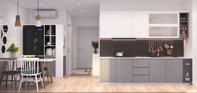 Mẫu tủ bếp chung cư nhỏ giản đơn nhưng ấn tượng