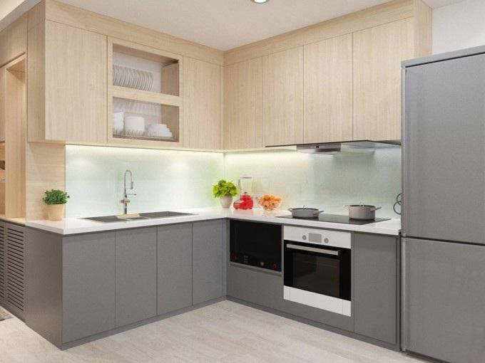 Mẫu tủ bếp chung cư nhỏ hình chữ L phổ biến