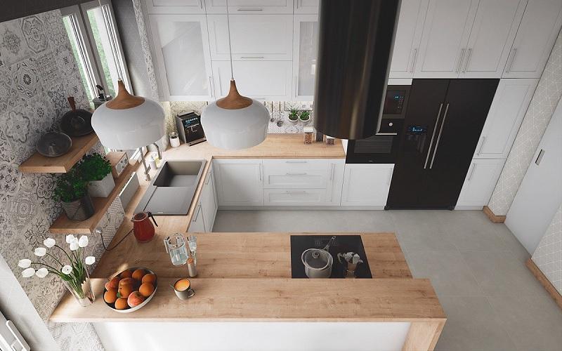 Thiết kế bếp nhỏ đẹp với tủ bếp chữ U
