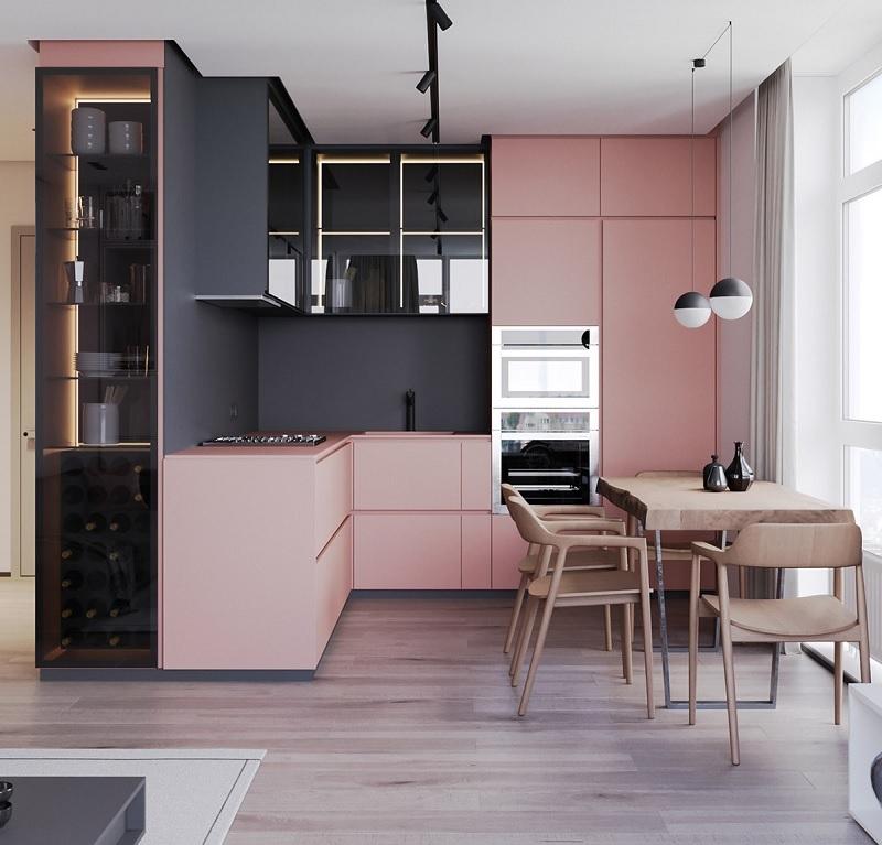 Thiết kế bếp nhỏ đẹp với màu sắc tươi sáng, độc đáo