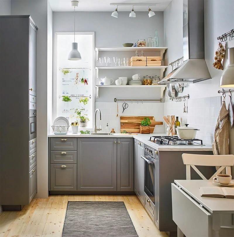 Thiết kế bếp nhỏ đẹp với tủ bếp chữ L