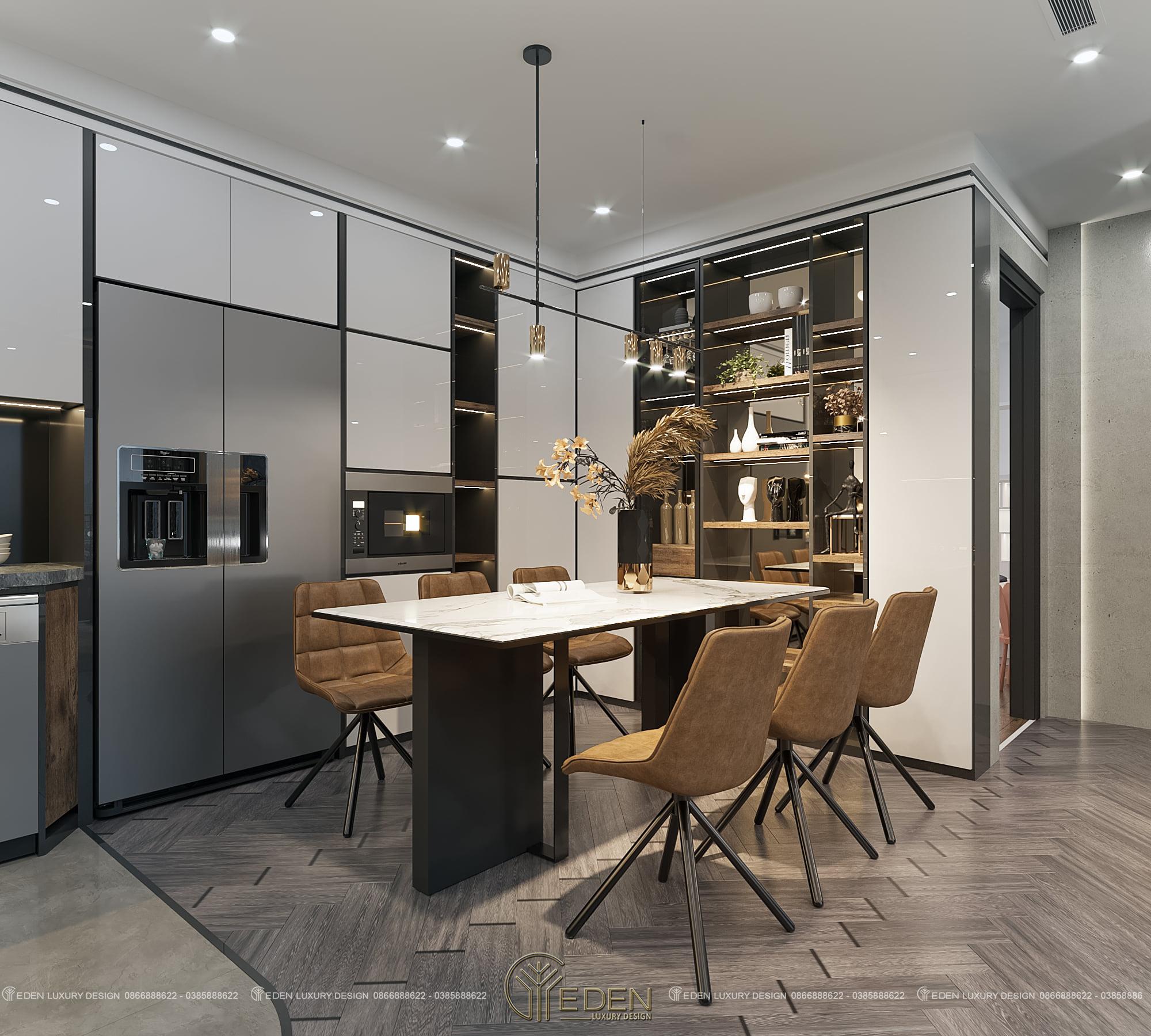 thiết kế nội thất phòng bếp chung cư luxury