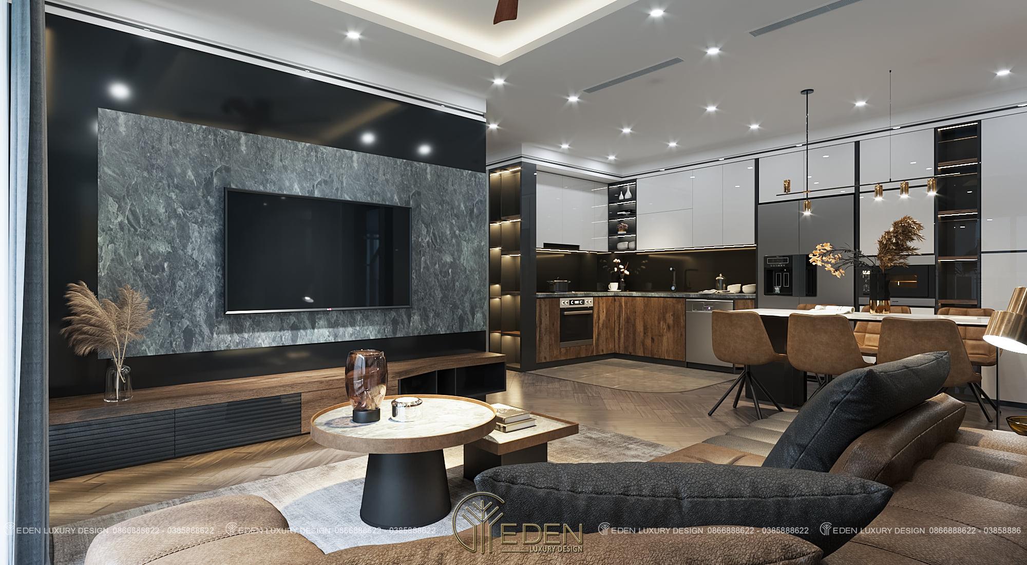 nội thất phòng khách liền bếp căn hộ chung cư GOLDEN PARK