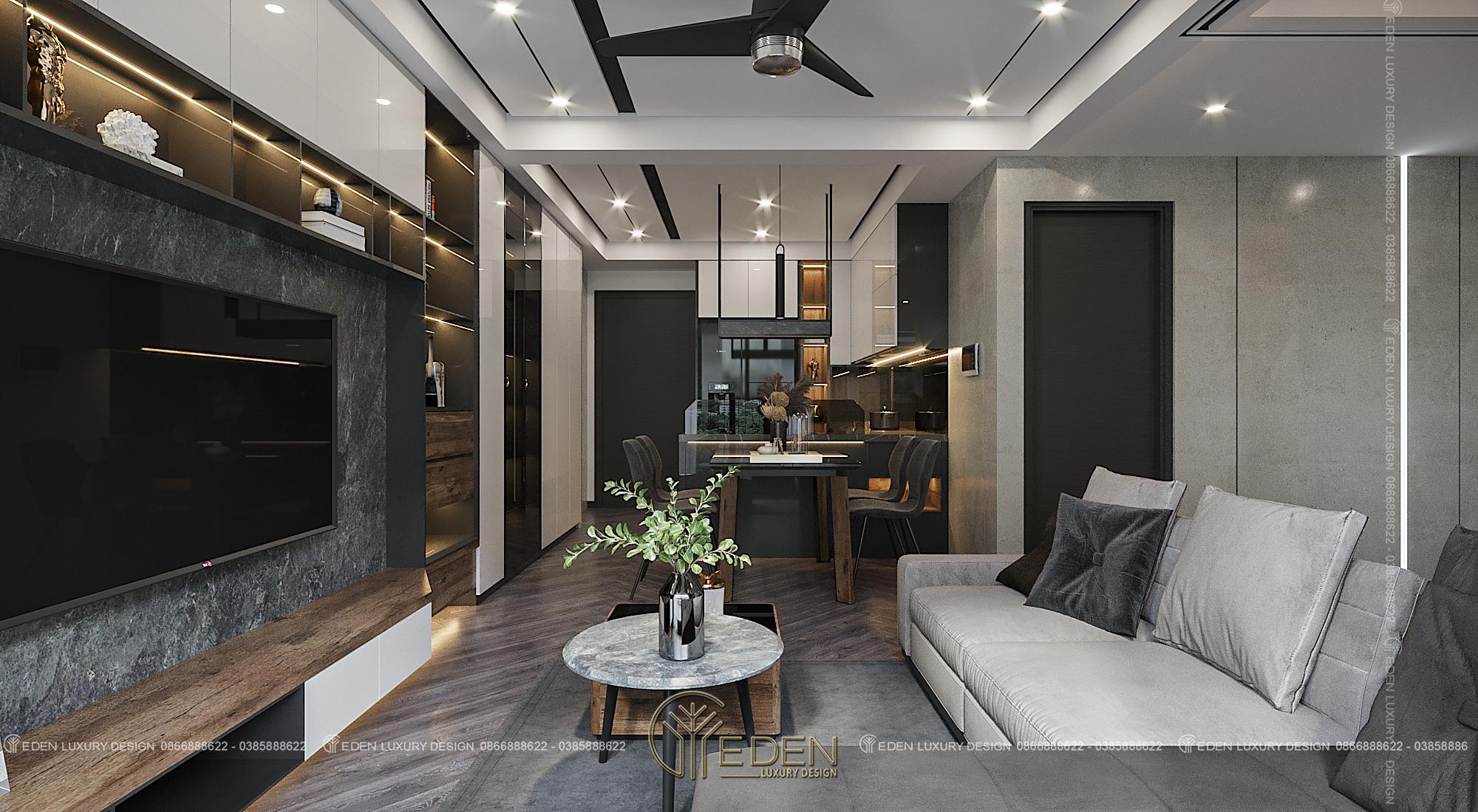 nội thất phòng khách căn hộ chung cư 60m2