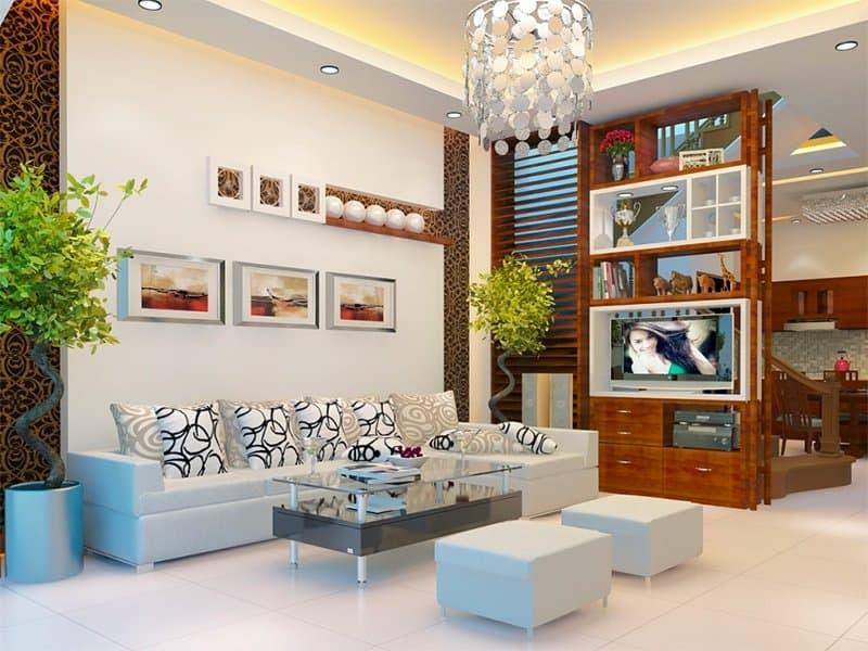 Thiết kế nhà ống đẹp mắt với không gian phòng khách đơn giản