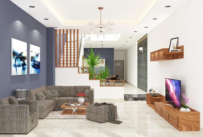 Mẫu cầu thang thẳng được thiết kế một bên phòng khách
