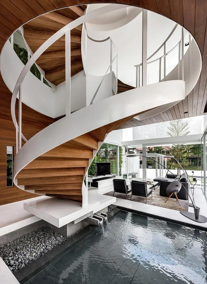 Thiết kế phòng khách đẹp có cầu thang xoắn ốc độc đáo