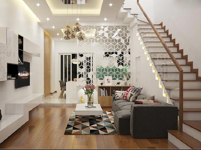 Không gian phòng khách với thiết kế cầu thang chữ L