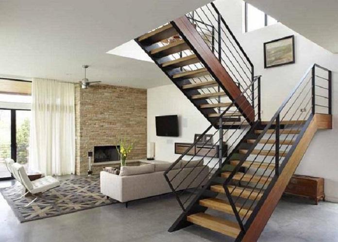 Cầu thang chữ U thiết kế đẹp cho không gian phòng khách