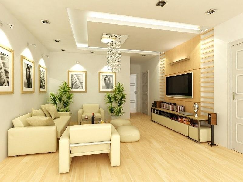 Thiết kế nội thất phòng khách hợp lý, phù hợp với phong thủy