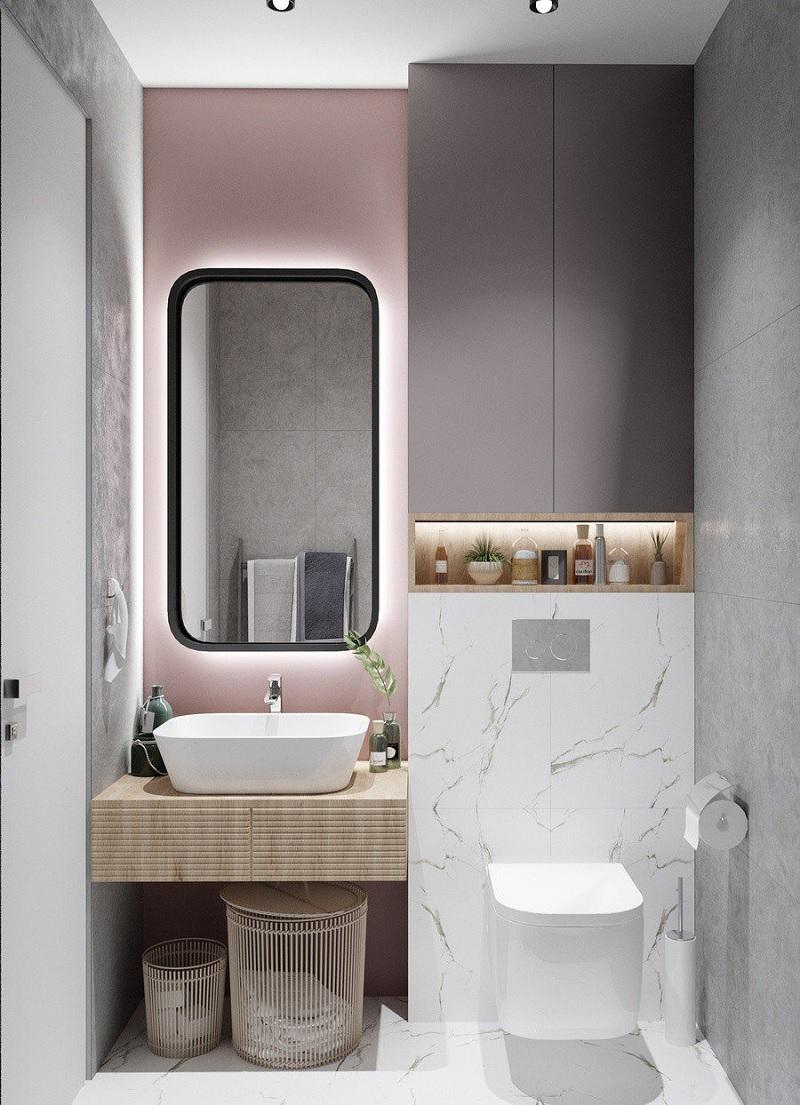 Mẫu thiết kế nhà vệ sinh nhỏ, gọn gàng tối giản