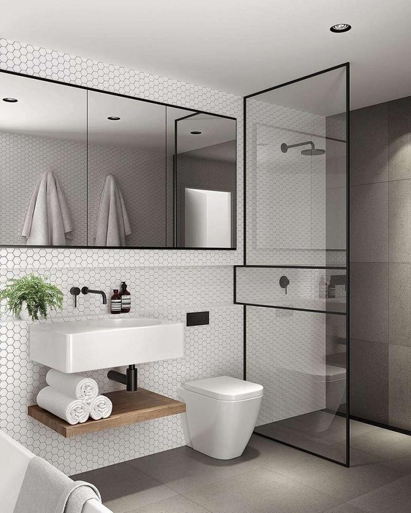 """Sự lựa chọn phòng tắm với vách ngăn kính sẽ là một cách giúp bạn """"phóng đại"""" không gian"""