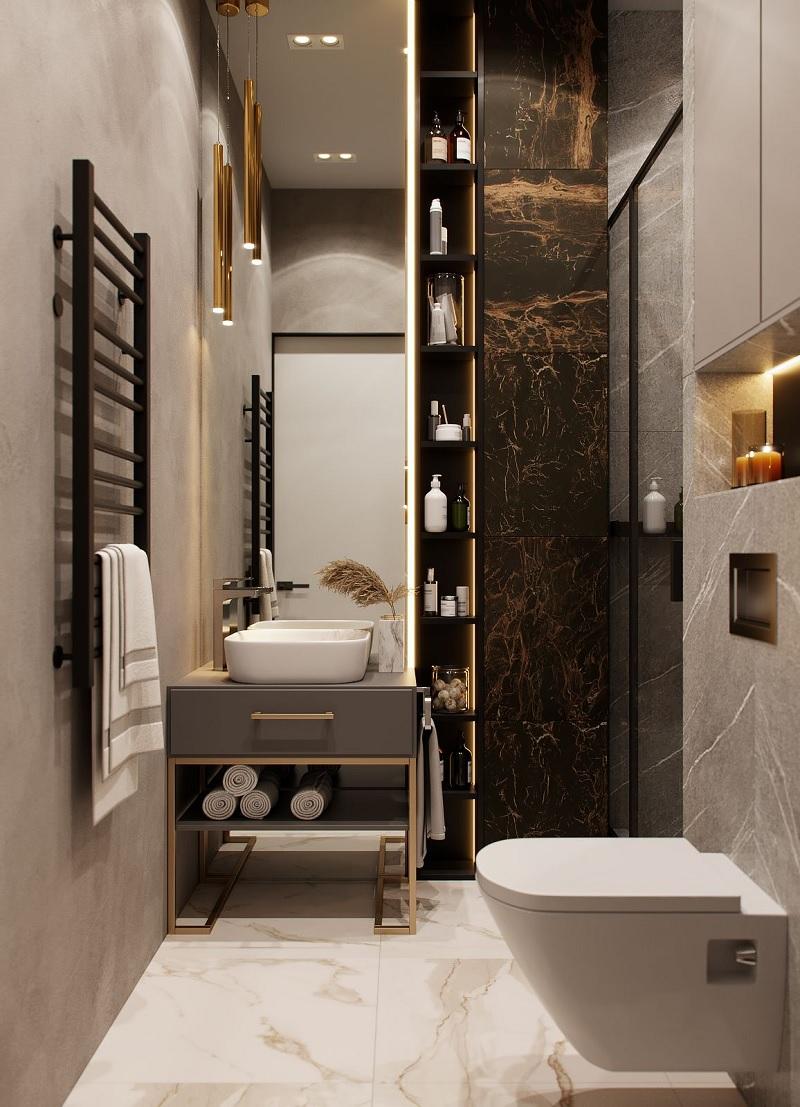 Nếu như phòng vệ sinh của bạn quá nhỏ thì bạn có thể cân nhắc việc lắp đặt kệ đơn