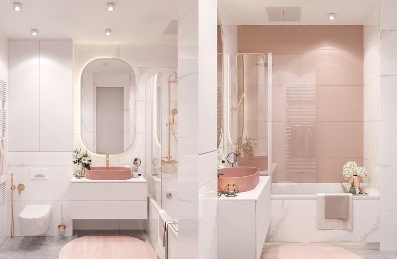 Gương không chỉ tạo thêm ảo giác về nhiều không gian hơn trong phòng tắm mà còn phản chiếu nhiều ánh sáng trở lại phòng