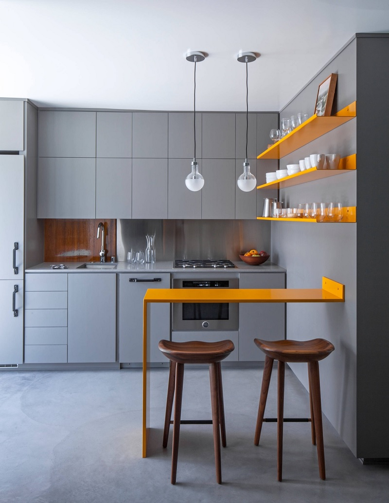 Dù là bếp nhỏ, nhưng nếu như có thể EDEN khuyên bạn nên thiết kế một quầy bar nhỏ cho căn bếp