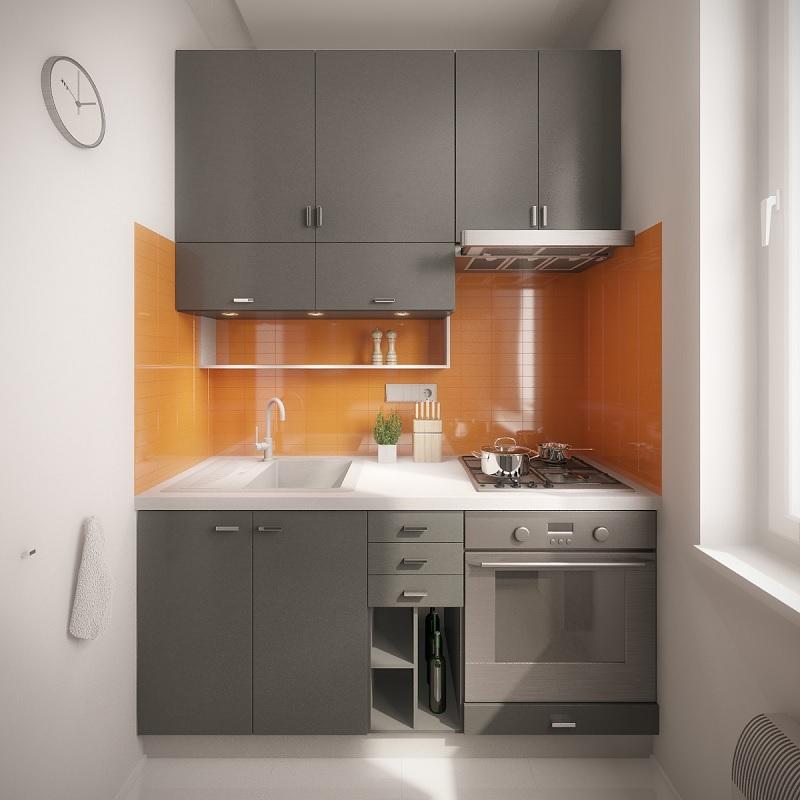Mẫu trang trí phòng bếp mang màu xám và cam san hô hoàn hảo