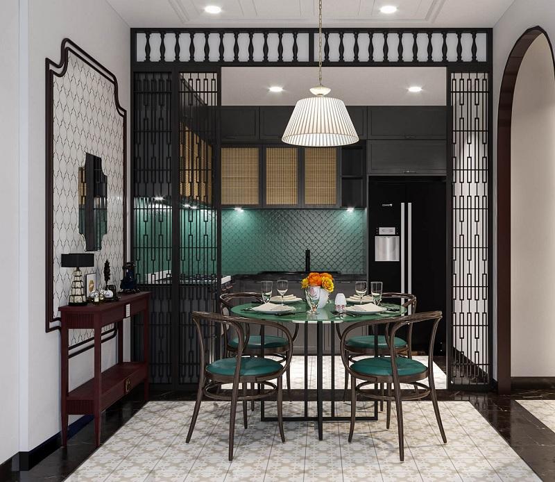 Mẫu trang trí phòng bếp với màu xanh lá đậm theo phong cách Indochine