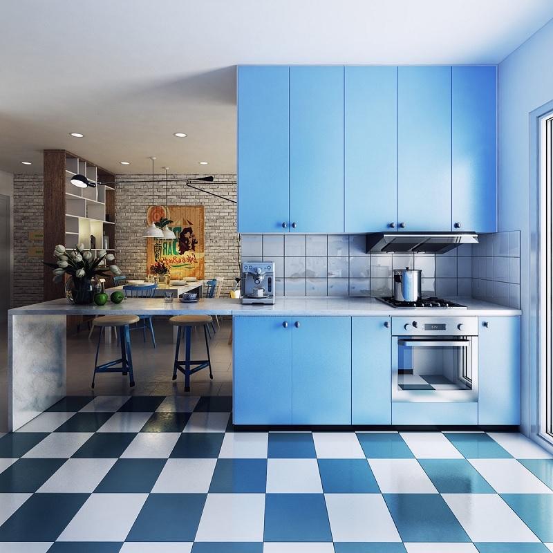 Mẫu trang trí phòng bếp màu xanh đậm cổ điển