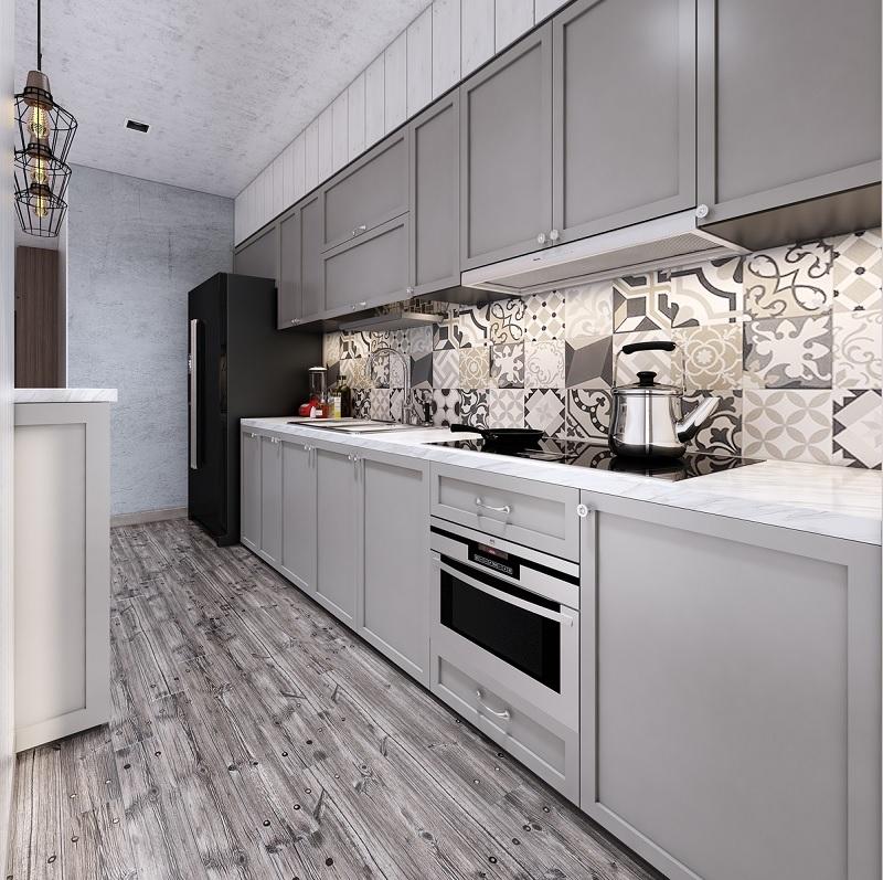 Tạo nên sự khác biệt với sàn gỗ nhấn mạnh vào chiều sâu giúp căn bếp trở nên dài hơn