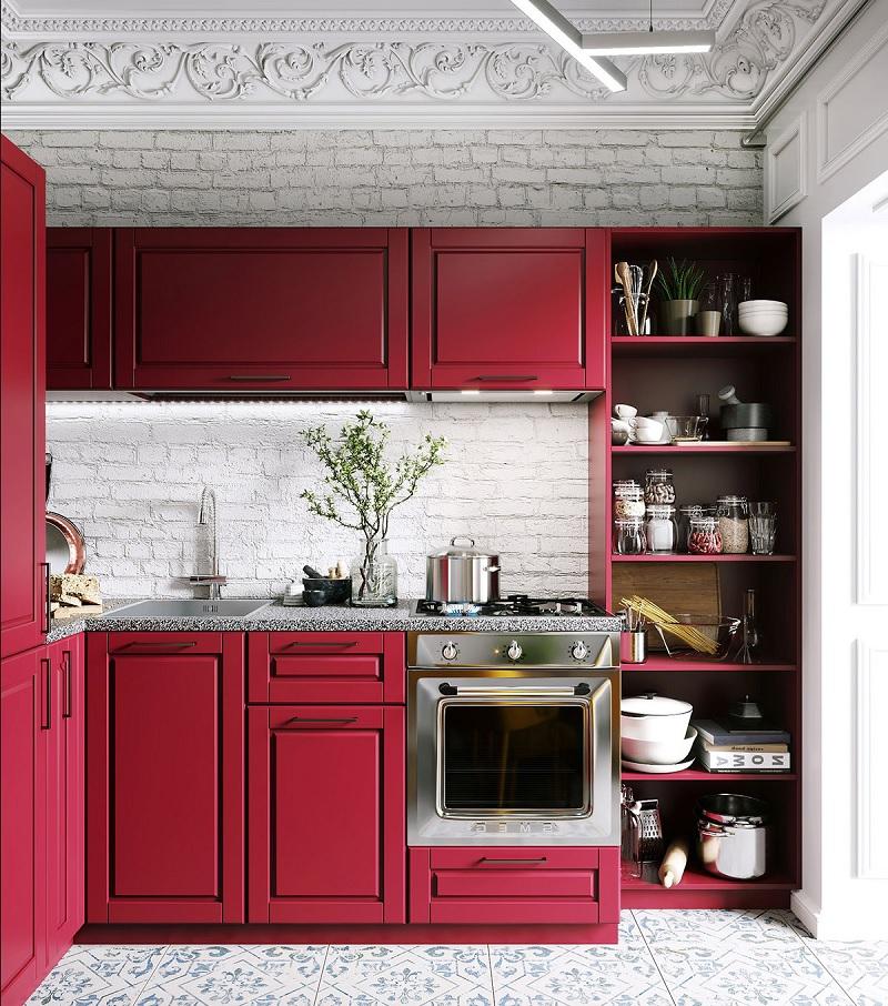 Mẫu trang trí phòng bếp màu đỏ đô quyền quý