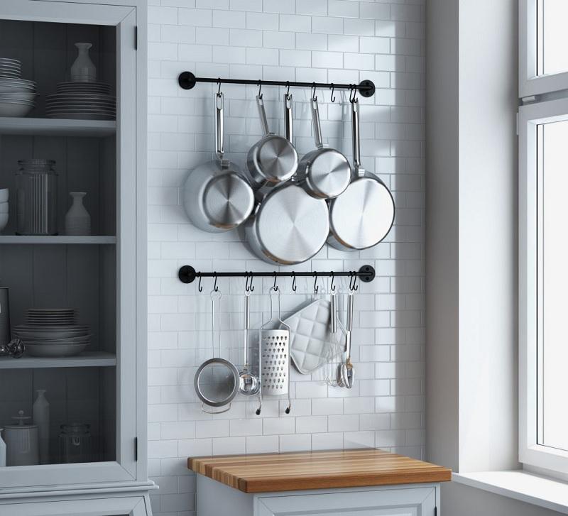 Ý tưởng thiết kế giá treo xong nồi trang trí bếp nhỏ
