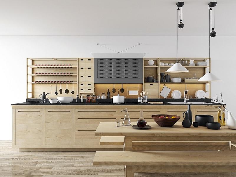 Mẫu trang trí phòng bếp mang màu nâu gỗ