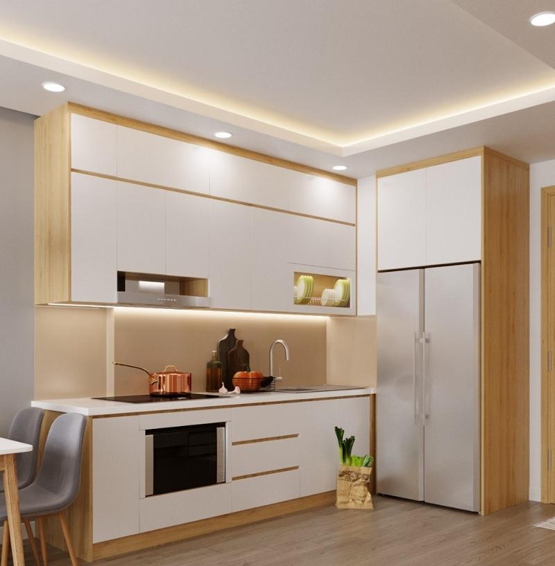 Mẫu phòng bếp với tủ bếp MDF Melamine