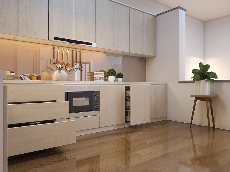 Thông thường giá cả sẽ được tính theo đơn vị mét dài với mức giá là 3.500.000 VND cho một tủ bếp Melamine trên + dưới.