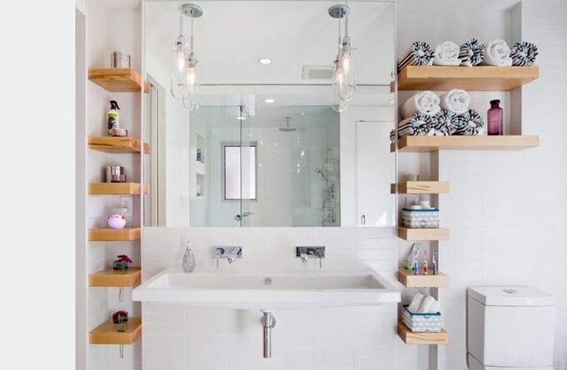 Tủ gương hình chữ U được thiết kế trong nhà vệ sinh tiện lợi, hiện đại