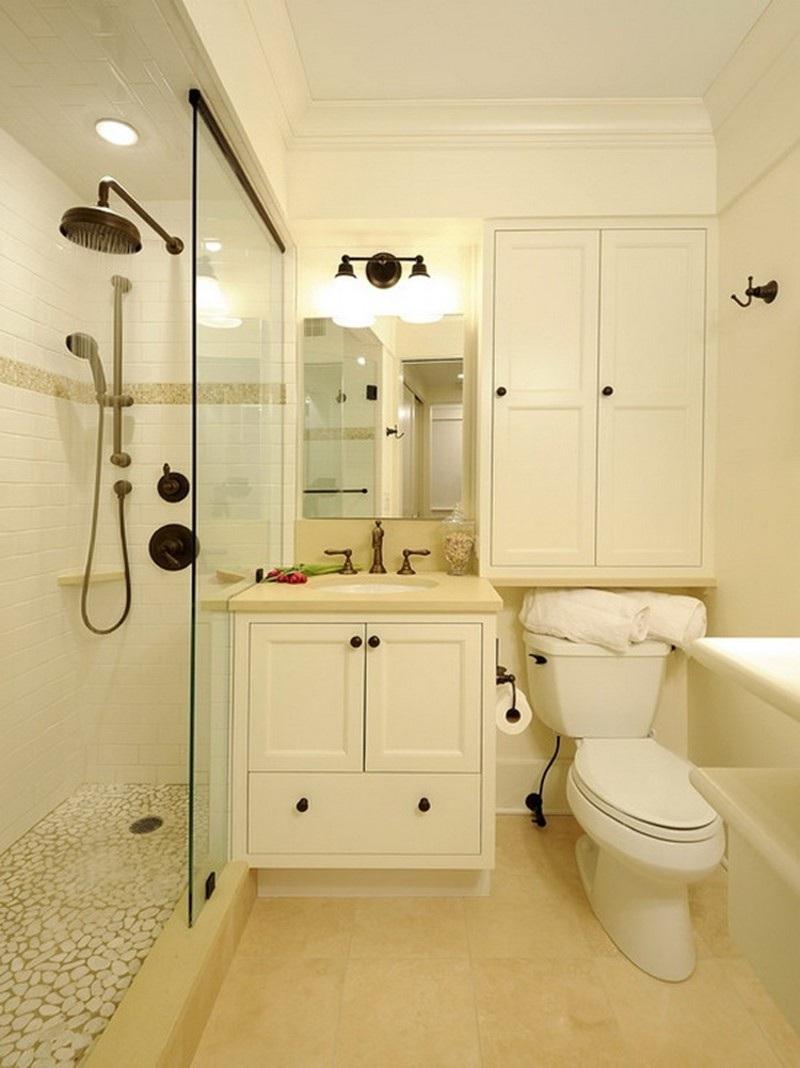 Thiết kế tủ đựng đồ phong cách tân cổ điển trong nhà vệ sinh rất bắt mắt