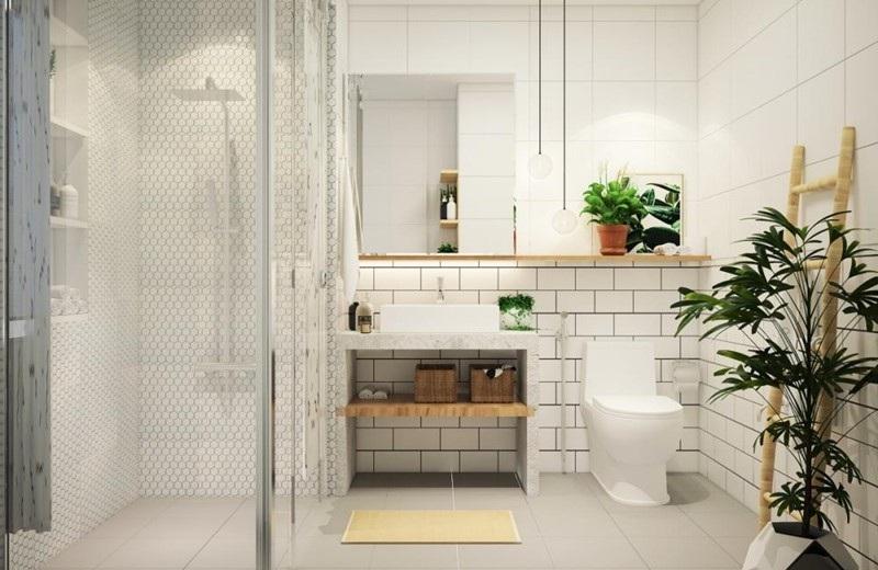 Tủ treo tường có cửa được thiết kế phía trên bồn rửa, kết hợp với kệ vân gỗ tạo nên không gian đẹp, vintage cho nhà vệ sinh
