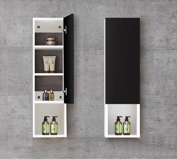 Tủ kệ đựng đồ trong nhà vệ sinh được thiết kế nhỏ gọn, tận dụng chiều cao với những ngăn nhỏ đựng đồ tinh tế