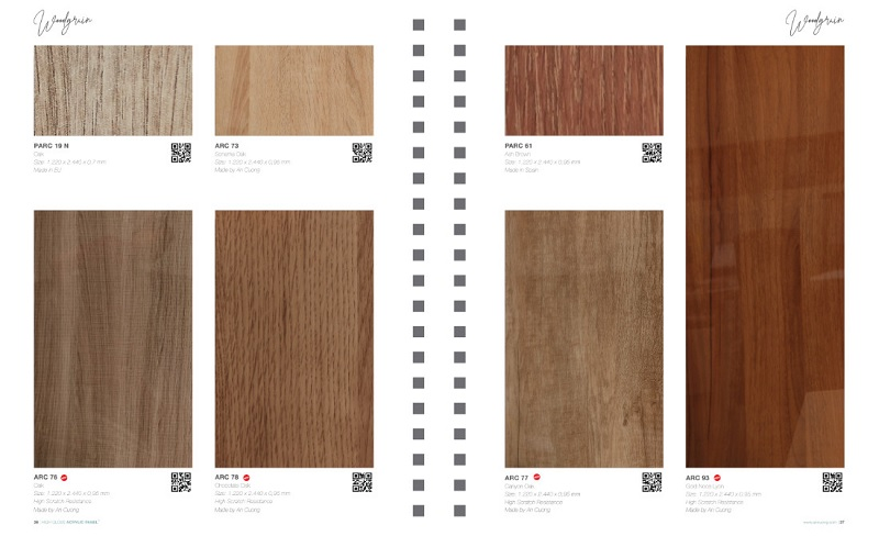 Mã màu gỗ Acrylic vân gỗ