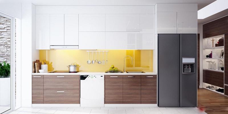 Tủ bếp gỗ Acrylic dang chữ I
