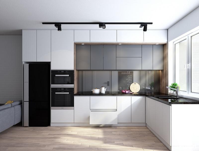 Tủ bếp gỗ Acrylic dang chữ L
