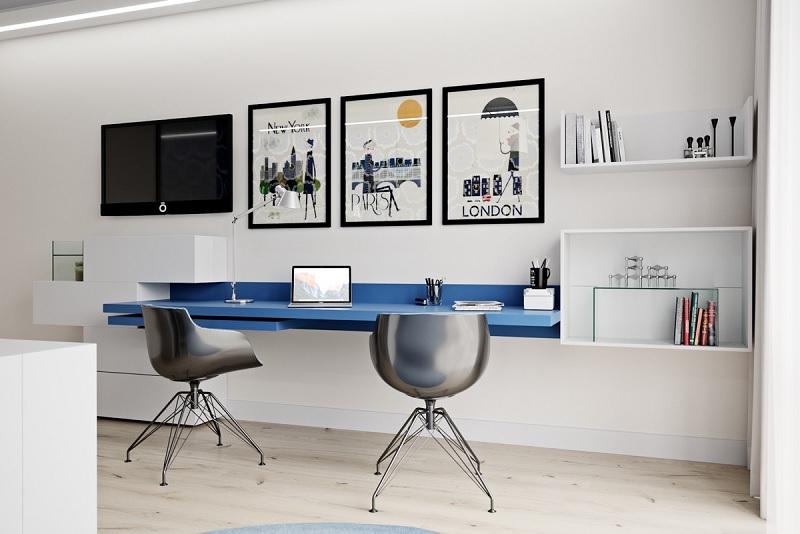Mẫu bàn làm việc màu xanh tạo cảm giác bình yên