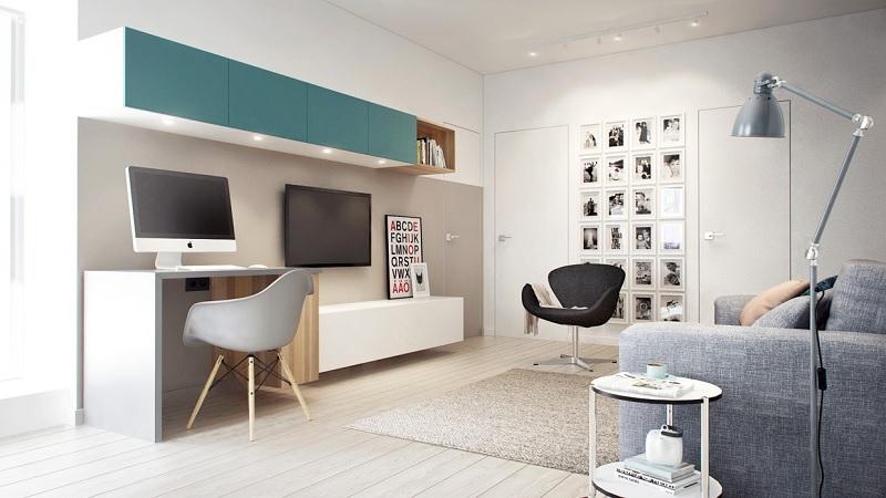 Mẫu bàn làm việc kết hợp với kệ tivi dành cho chung cư