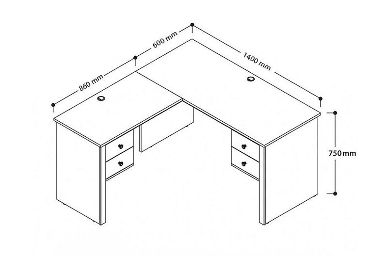Kích thước bàn làm việc dáng chữ L