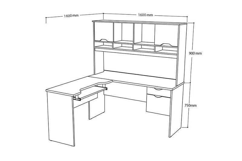 Kích thước bàn làm việc dáng chữ L kèm giá sách