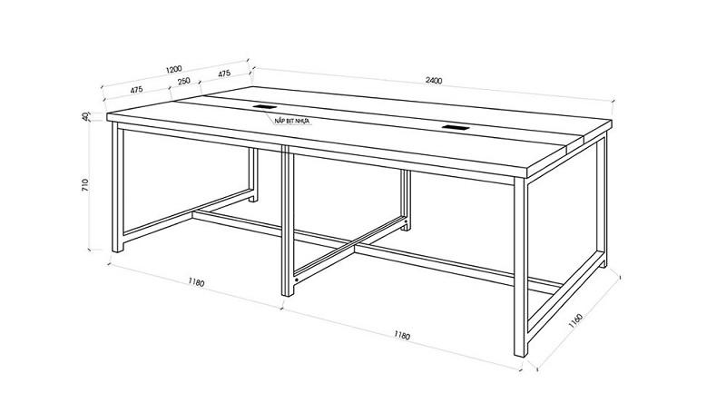Kích thước bàn làm việc đôi