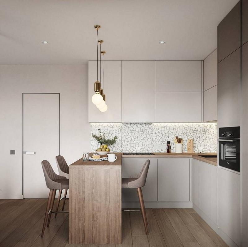 Căn bếp trẻ trung, hiện đại khi kết hợp với mẫu đèn tròn không làm giảm đi sự thời thượng. Chúng giúp cho không gian trở nên mềm mại hơn rất nhiều